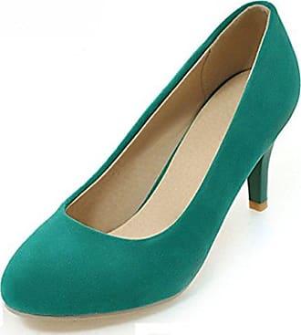 Easemax Damen Einfarbig Nubukleder Low-Cut Ohne Verschluss Hoher Blockabsatz Pumps Schuhe Rot 35 EU CTlPXuVx