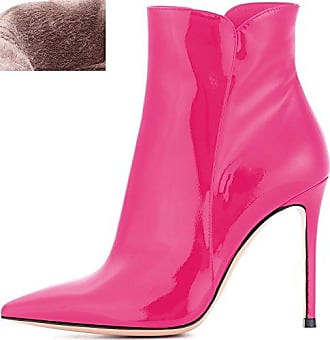 SHOWHOW Damen Strass Winterschuh High Heels Kurzschaft Stiefel Mit Abstaz Pink 42 EU w4c00qc