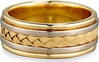 Eli Jewels Gents Woven 18K White & Yellow Gold Wedding Band Ring, Size 9.5
