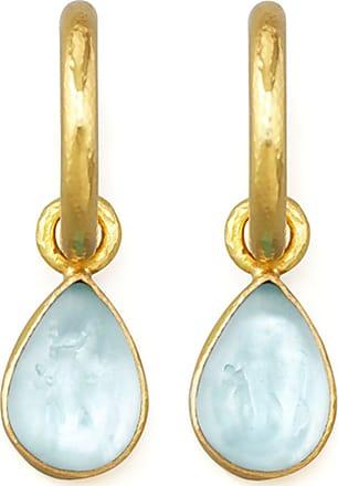Elizabeth Locke Light Aqua Intaglio Teardrop Earring Pendants B8jzL