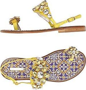 Sandals calfskin Rhinestone brooch purple Emanuela Caruso Capri hUikN