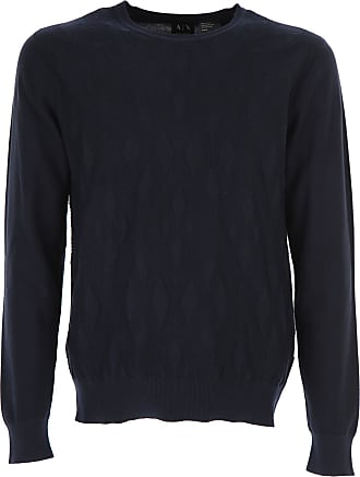 Sweater for Men Jumper On Sale in Outlet, Dark Indigo Blue Melange, Cotton, 2017, XL Emporio Armani