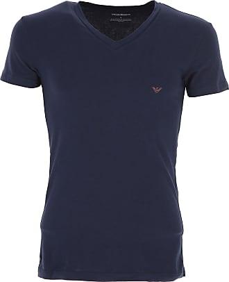 Camiseta de Hombre Baratos en Rebajas, Azul Marina, Algodon, 2017, M S XL Emporio Armani