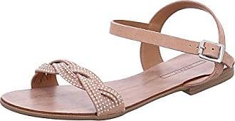 Esprit Flache Sandale mit Leder-Riemchen und Glitter für Damen, Größe 38, Camel