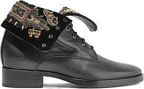 Etro Woman Embellished Velvet And Leather Ankle Boots Size 36.5
