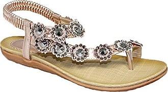 Fantasia Boutique Damen Sandalen, Beige - Rose Gold - Größe: 37.5