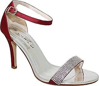 Saphir Boutique flh844 Damen Tasmin Elegant DIAMANTRIEMEN Metallisch Satin Gefühl Ferse - Rot, 4 UK