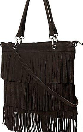 Shopper, Umhängetasche mit Fransen aus echt. Wildleder Mod.2033-8 Grau Italy Fashion-Formel