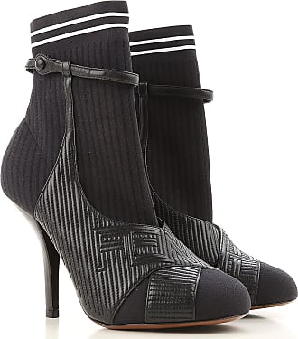 Boots for Women, Booties On Sale in Outlet, Black, Calf-skin Leather, 2017, 3 Fendi