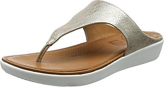 FitFlop Metallic Cha Fringe Toe-Thong, Sandales Bout Ouvert Femme, é (Silver 11), 42 EU