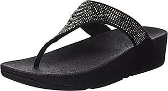 FitFlop Surfa Sequin, T-Bar Sandals Femme - Noir - Noir (Noir), 41