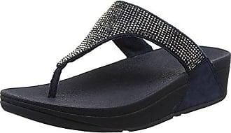 Femmes Maigres Fitflop Orteil-string Sandales En Cuir Peep Toe - Noir - 38 Eu CsTZEcn