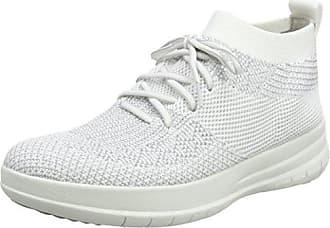 FitFlop Damen Uberknit Slip-on High Top Sneaker, Mehrfarbig (Metallic Silver/Urban White 567), 40 EU