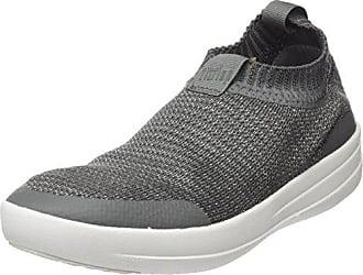 FitFlop Damen Uberknit Slip-on Sneakers-Metallic Hohe Sneaker, Multicolour (Charcoal/Metallic Pewter), 38 EU