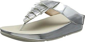 FitFlop Metallic Cha Fringe Toe-Thong, Sandales Bout Ouvert Femme, Argenté (Silver 11), 36 EU