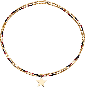 Frasier Sterling Red, White, & Blue Necklace in Metallic Gold