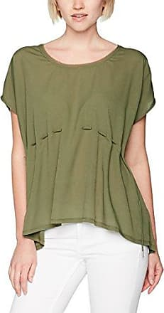 Tom Tailor Mixed Blouse Top, Camiseta para Mujer, Verde (Dry Greyish Olive 7708), Small
