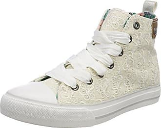 Womens Hedi Toe Cap Sneaker All Over Emroidery Hi-Top Trainers, White Fritzi Aus Preu?en