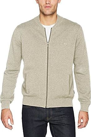 Zipp, 2-Tone Horizontal Rib, Cárdigan para Hombre, Beige (Earth-Taupe 1812), X-Large Fynch-Hatton