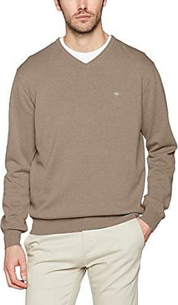 V-Neck, Pique Structure, Jersey para Hombre, Beige (Taupe 845), Medium Fynch-Hatton