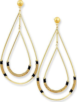 Gas Bijoux Zanzibar Double Teardrop Earring, Black/Gold