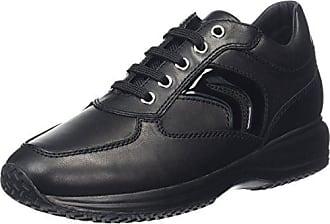 D742QA Breeda Modischer Knöchelhoher Damen Sneaker mit Seitlichem Reißverschluss und Gummizug für Perfekte Passform, Wechselfußbett Schwarz (Black), EU 37 Geox