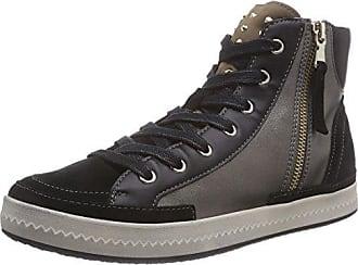 D746HC Blomiee Sportlicher Damen Sneaker, Knöchelhoch, Schnürhalbschuh, Freizeitschuh, Steppmuster, Atmungsaktiv, Wechselfußbett Grau (Grey/Chestnut), EU 38 Geox