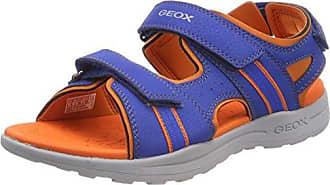 Geox Jungen J Gleeful Boy B Peeptoe Sandalen, Blau (Royal/Orange), 32 EU