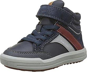 Geox J Arzach E, Sneakers Basses Garçon, Bleu (Navy/Browncotto), 30 EU