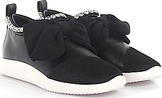 Sneaker calfskin mesh smooth leather Crystal ornament Ribbon black Giuseppe Zanotti nU3dUK2gq4