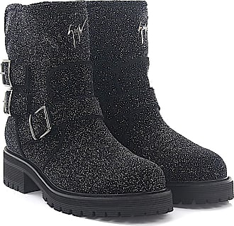 Cheap And Nice Ankle Boots COMBAT leather fabric black glitter Giuseppe Zanotti From China Online KYztvXVc