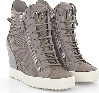 Wedge Sneakers LAMAY leather grey snake embossment Giuseppe Zanotti 85MdrN