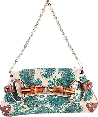 Gucci Embroidered Paisley Canvas Leather Horsebit Bamboo Detail Flap Bag Clutch ZZogkBw