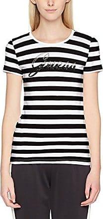 Guess Camiseta para Mujer, Negro (White and Black STRI), 38 EU (Talla del Fabricante: L)