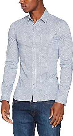 LS Venice, Camisa para Hombre, Blanco (Hypnotic White/Blue), 38 (Talla del Fabricante: Small) Guess