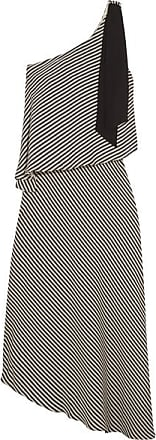 Halston Heritage Woman One-shoulder Layered Striped Crepe De Chine Dress Black Size M Halston Heritage Clearance Best Seller 983ee