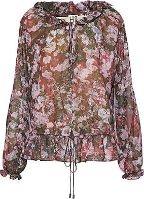 Original Clearance Sneakernews Haute Hippie Woman Ruffle-trimmed Printed Silk-chiffon Blouse Light Gray Size S Haute Hippie ylgAhv7Dcv