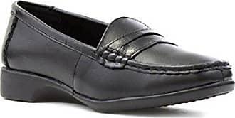 Heavenly Feet Damen Schwarz Lederslipper Loafer - Größe 4 UK / 37 EU - Schwarz 6kg3MdV6Ka