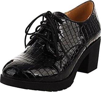 Damen Maedchen Lace-up Schuhe Thick Heel Schuhe Herbst Stiefel Schwarz CN Groesse 37=EU Groesse 36 Hee Grand 3iJQMuIN4