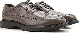 Chaussure à Lacets Homme, Oxfords, Derbies et Richelieu Pas cher en Soldes, Bleu nuit noire, Cuir, 2017, 42Hogan
