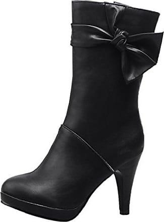 HooH Damen Halbschaft Stiefel Winter Matt High Heel Reißverschluss Knie hoch Stiefel Braun 37 EU ShkSU1