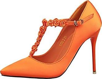 HooH Damen Satin Blume T Strap Schnalle Hochzeit Pumps-Orange-34 lWV5XI8uRy
