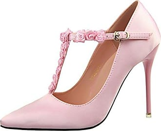 Damen Voll Leder Rose Snake Skin Pointed Toe Drei Heel Pumps-pink-half leather(heel 10cm)-41 HooH OIMIiZKAc