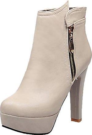 HooH Damen Stiefeletten Reißverschluss 3D Blume High Heel Platform Stiefel Beige 36 EU yiok3RF2M
