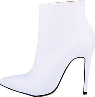 HooH Damen Stiefeletten Reißverschluss Spitze Zehe High Heel Kurze Stiefel Rot 37 EU xnBM9Y