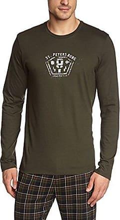 Decorative Long Sleeve T-Shirt, Camiseta de Pijama para Hombre, Azul (Marine/Rayure Blanc-Bleu 00RA), Large HOM
