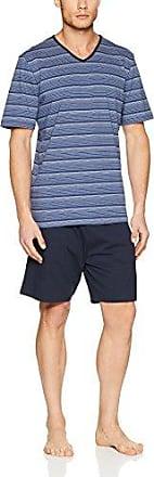 Summer Moods Pyjama Kurz, Conjuntos de Pijama para Hombre, Azul (Weakblue Stripe 018262), Medium Huber