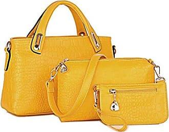 Mode Damen Leder Crossbody Schulter Handtasche Geldb?RSE 12 W x 14 H x 3 D Rot YUNA Nnw26Y