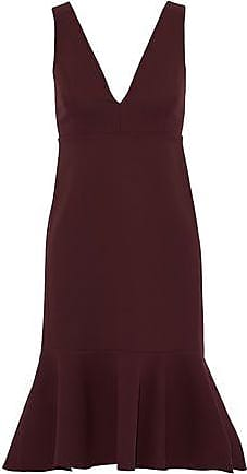 Iris & Ink Woman Sasha Fluted Crepe Dress Burgundy Size 10 IRIS & INK Cheap Sale Browse Visa Payment Sale Online Sale 100% Guaranteed From China For Sale VGcxy
