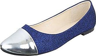 Ballerinas Damen-Schuhe Blockabsatz Blockabsatz Ballerinas Blau Silber, Gr 37, Hs42 Ital-Design